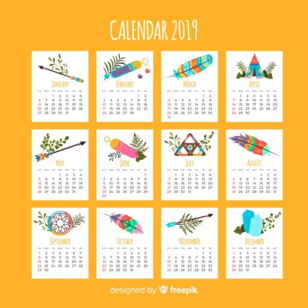 Calendrier style indien